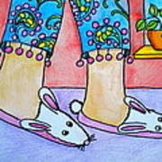 Funny Bunny Slippers Print by Debi Starr