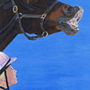 Funny Face - Horse And Child Art Print