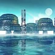 Futuristic City On Water Art Print