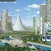 Futuristic Eco City Conceptual Image Poster