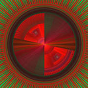 Futuristic Green And Red Tech Disc Fractal Flame Art Print