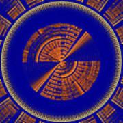 Futuristic Tech Disc Blue And Orange Fractal Flame Art Print
