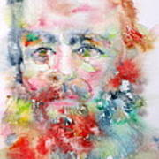 Fyodor Dostoyevsky - Watercolor Portrait.4 Art Print