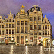 Gabled Buildings In Grand Place Art Print