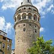 Galata Tower Landmark In Istanbul Turkey Art Print
