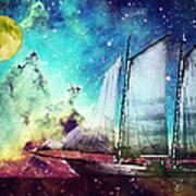 Galileo's Dream - Schooner Art By Sharon Cummings Art Print