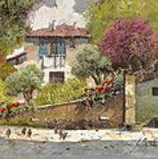 Galline Art Print by Guido Borelli