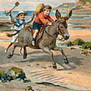 Galloping Donkey At The Beach Art Print