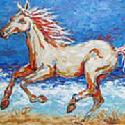 Galloping Horse On Beach Art Print