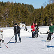 Game Of Ice Hockey On A Frozen Pond  Art Print