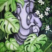 Ganesh With Jasmine Flowers Art Print