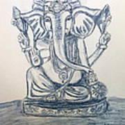 Ganesha In Blue Art Print