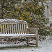 Garden Bench During Winter Snowfall At Sayen Gardens Art Print