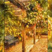 Garden Flowers With Bench Photo Art 02 Art Print