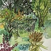 Garden In Llandielo, 1999 Watercolour On Paper Art Print