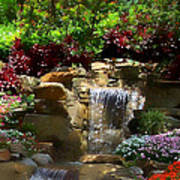 Garden Waterfalls Art Print