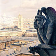 Gargoyle Stryga On The Notre-dame Cathedral In Paris. France. Art Print