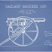Garland Machine Gun Patent Drawing From 1892 - Light Blue Art Print