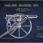 Garland Machine Gun Patent Drawing From 1892 - Navy Blue Art Print