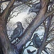 Gathering A Murder Of Crows II Print by Helen Klebesadel