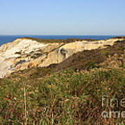 Gay Head Lighthouse With Aquinnah Beach Cliffs Art Print
