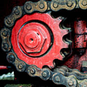 Gear Wheel And Chain Of Old Locomotive Print by Matthias Hauser
