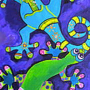 Gecko's Dipped In Paint Art Print