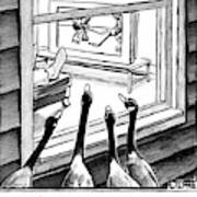 Geese Watching Hockey From A Window Art Print