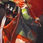 Geisha Girl With Red Umbrella Art Print