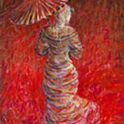 Geisha In Red Art Print