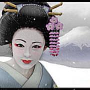 Geisha In Snow On Mt. Fuji Art Print