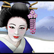 Geisha On Mount Fuji Art Print