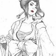 Geisha Warrior Art Print by Rebecca Christine Cardenas