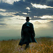Gentleman In Top Hat Walking In Field Art Print