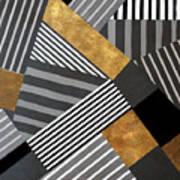 Geo Stripes In Gold And Black II Art Print