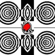 Geometric Art Black White Red Abstract No.382. Art Print by Drinka Mercep