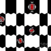 Geometric Minimalistic Art Black White Red Abstract Print No.228. Art Print