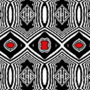 Pattern Black White Red Op Art No.389. Art Print by Drinka Mercep