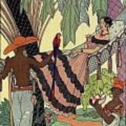 George Barbier. Spanish Lady In Hammoc With Parrot.  Art Print