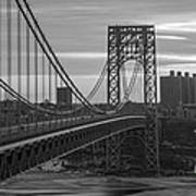 George Washington Bridge Frame Work Bw Art Print