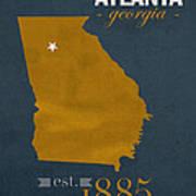 Georgia Tech University Yellow Jackets Atlanta College Town State Map Poster Series No 043 Art Print