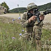 Georgian Army Sergeant Aims An M4 Art Print