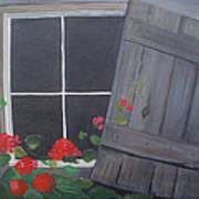 Geraniums At Log Cabin Art Print by Glenda Barrett