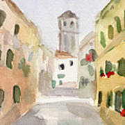 Geraniums Cannaregio Watercolor Painting Of Venice Italy Art Print