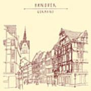 German Town, Walking Street, Timber Art Print