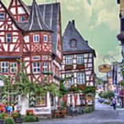 German Village Along Rhine River Art Print