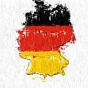 Germany Painted Flag Map Art Print
