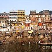 Ghats In The River Ganges At Varanasi In India Art Print