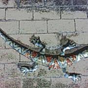 Giant Lizard On A Wall Art Print