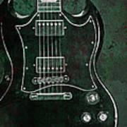 Gibson Sg Standard Green Grunge Art Print